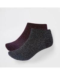 River Island - Black Metallic Stitch Trainer Socks Multipack - Lyst