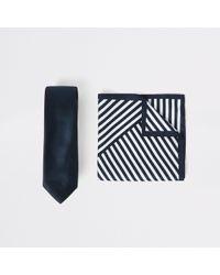 River Island - Navy Satin Tie And Stripe Handkerchief Set - Lyst