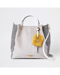 River Island - Grey Check Gold Tone Handle Slouch Bag - Lyst