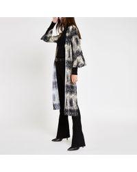 River Island - Plisse Snake Print Kimono Duster Jacket - Lyst