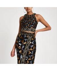 River Island - Black Geo Sequin Embellished Crop Top - Lyst