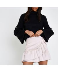 River Island - Light Pink Faux Suede Wrap Frill Mini Skirt - Lyst