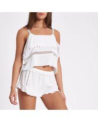 River Island | White Frill Hem Pom Pom Pyjama Shorts White Frill Hem Pom Pom Pyjama Shorts | Lyst