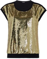 eff42050eae3e9 Roberto Cavalli - Black And Gold Sequinned T-shirt - Lyst