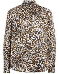 eb223073e89 Saint Laurent Leopard Print Blouse in Brown for Men - Lyst