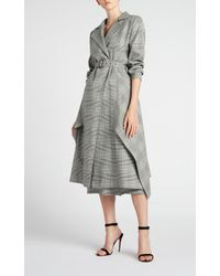 Roland Mouret - Pullman Asymmetric Belted Prince Of Wales Checked Wool-blend Coat - Lyst