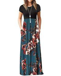 Rosegal - Floral Pockets Floor Length Dress - Lyst