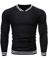 Rosegal Striped Design V-neck Long-sleeved Sweater - Black