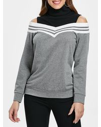 Rosegal - Stripe Trim Cold Shoulder Sweatshirt - Lyst