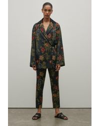 Rosetta Getty - Floral Jacquard Cropped Skinny Trouser - Lyst