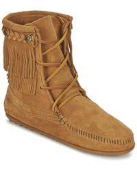 Minnetonka | Double Fringe Tramper Boot Mid Boots | Lyst