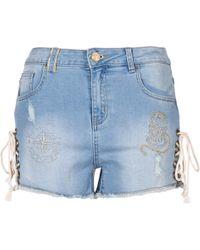 Desigual - Dreoj Women's Shorts In Blue - Lyst