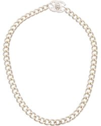Chanel - Silver-tone Small Cc Turnlock Necklace - Lyst