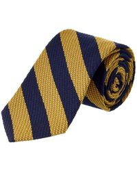 Brooks Brothers - Yellow Striped Wool-silk Blend Tie - Lyst
