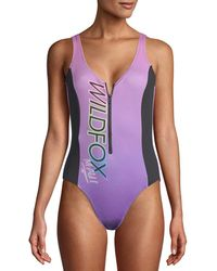 Wildfox - Zipper One-piece Swimsuit - Lyst