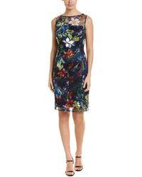 Tahari - Floral Illusion Neck Sheath Dress - Lyst