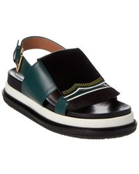 Marni - Fussbett Embroidered Leather Sandal - Lyst