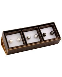 Splendid - Set Of 3 Silver Plated Freshwater Pearl 9-9.5mm Studs - Lyst