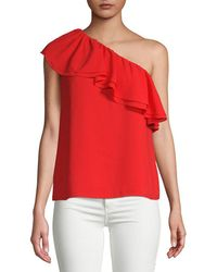 Rebecca Taylor - Ruffle One-shoulder Silk Top - Lyst