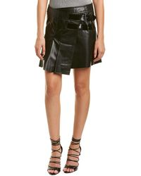 Helmut Lang - Pleated Leather Mini Skirt - Lyst