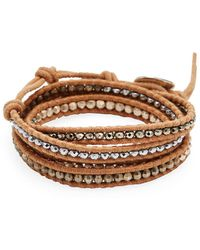 Chan Luu - Titanium Pyrite, Rose Gold Hermatine, Silver Martite, Leather & Silver Bracelet - Lyst