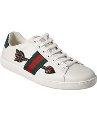 aa78ab4da31 Lyst - Gucci Ace Embroidered Heart Leather Lace-up Sneaker in White