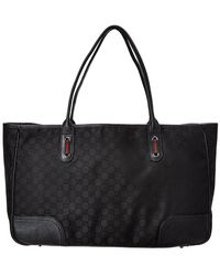 Gucci - Black GG Canvas & Leather Tote - Lyst