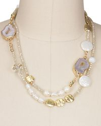 "Saachi - Beaded Agate And Stone 36"" Necklace - Lyst"