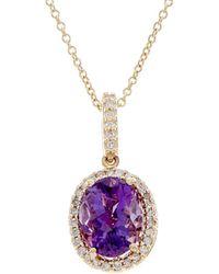 Effy - Fine Jewellery 14k 1.66 Ct. Tw. Diamond & Amethyst Necklace - Lyst