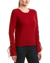 White + Warren - Wool & Cashmere-blend Lace-up Sleeve Sweater - Lyst