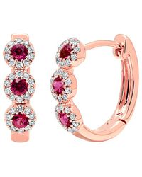 Diana M. Jewels - . Fine Jewelry 14k Rose Gold 0.44 Ct. Tw. Diamond & Ruby Hoops - Lyst