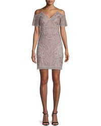 Aidan Mattox - Embellished Cold-shoulder Dress - Lyst