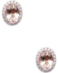 Rina Limor - 10k Rose Gold Morganite & Diamond Halo Studs - Lyst