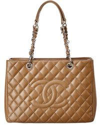 Chanel - Brown Quilted Caviar Leather Grand Shopping Tote - Lyst