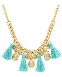 Sparkling Sage - 14k Plated Pineapple Tassel Necklace - Lyst