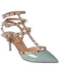 5b7e76168270 Lyst - Valentino Rockstud Patent Ankle Strap Pump in Gray