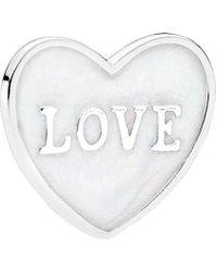 PANDORA - Love Heart Locket Silver Plate - Lyst