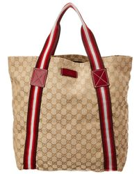 280a4a26b35 Gucci - Red GG Canvas   Leather Medium Web Tote - Lyst