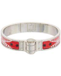 Hermès - Red Enamel Charniere Uni Narrow Bracelet - Lyst
