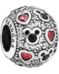 13a9572d6 PANDORA - Disney Jewelry Collection Silver Cz & Crystal Sparkling Mickey & Hearts  Charm - Lyst