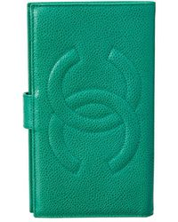 Chanel - Green Caviar Leather Wallet - Lyst