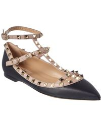 Valentino - Cage Rockstud Leather Ballet Flat - Lyst