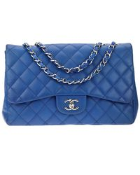 1fc8fd6b9f7f Chanel - Cobalt Blue Quilted Lambskin Leather Jumbo Single Flap Bag - Lyst
