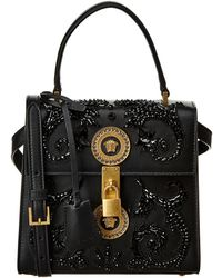Versace - Embroidered Barocco Leather Satchel - Lyst