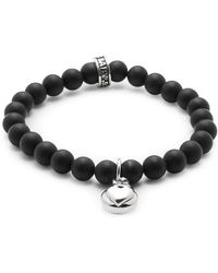 King Baby Studio - Silver Heart & 8mm Onyx Beaded Charm Bracelet - Lyst