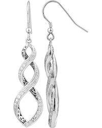 Lois Hill - Silver 0.25 Ct. Tw. Diamond Drop Earrings - Lyst