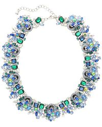 Sparkling Sage - Silver Plated Crystal Bib Necklace - Lyst