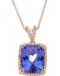 Effy - Fine Jewelry 14k Rose Gold 5.11 Ct. Tw. Diamond & Tanzanite Necklace - Lyst