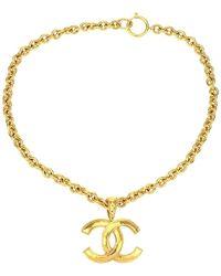Chanel - Gold-tone Cc Logo Pendant Necklace - Lyst
