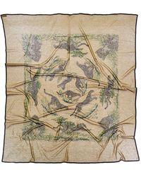 "Hermès - ""guepards"" By Robert Dallet Cotton Scarf - Lyst"